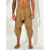 Mens Vintage Solid Color Casual Corduroy Calf Length Harem Pants