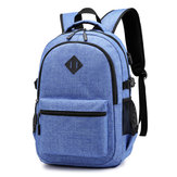 Oxford Cloth Backpack USB de carga antirrobo Simple Casual Laptop para hombre Bolsa