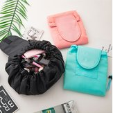 Polyester Solid Color Drawstring Cosmetic Bag Travel Portable Lazy Storage Bag