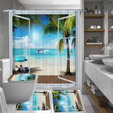 4 PCS Summer Beach Scenery Outside the Window Waterproof Bathroom Shower Curtain Kit Toilet Cover Bath Mat Anti-Slip Rug Sets