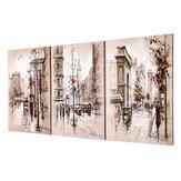 3 szt. Nowoczesne miasto na płótnie Obrazy ścienne Wiszące obrazy sztuki Oprawione w ramie