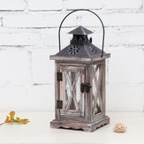 Vintage Tea Light Wooden Candle Holder Moroccan Hanging Iron Lantern Home Decor