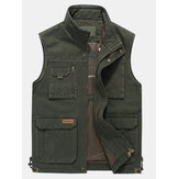 Męskie duże rozmiary Casual Outdoor Cotton Multi Pocket Function Loose Vest