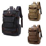 Hommes rétro style haute capacité vintage toile sac à dos avec multi-poches cartable voyage épaule sac d'école pour camping équitation
