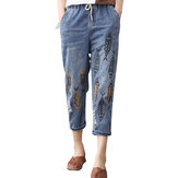 Vintage Embroidery Printed High Waist Mid-Calf Jeans