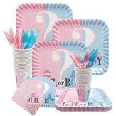 65/112 / 114PCS / Set Gender Reveal Party Supplies Baby Shower Dekoracje Chłopiec lub dziewczynka Jednorazowa zastawa stołowa Filiżanki Talerze Serwetki