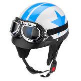 Protetor de motocicleta estrela capacete Padrão azul e branco com óculos de viseira Vintage