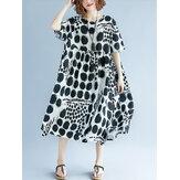 Mujeres Polka Dot Print Casual Loose vendimia Vestido