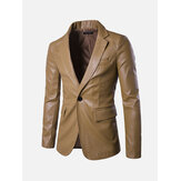 Solid Color PU One Button Slim Fit Bress Blazer Suits for Men