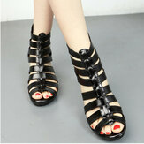 Frauen aushöhlen Peep Toe Black Summer Wedge Sandalen