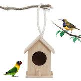 Wooden Bird House Feeder Wild Birds Nest Home Garden Nesting With Hanging Bird Net