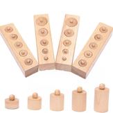 4 stk Sett pedagogiske treleker for barn sylinder sokkelblokker leketøy puslespill leketøy baby utvikling praksis