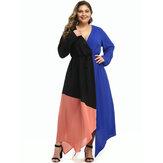 Büyük Beden Kadın Hit Renk Patchwork V Yaka Günlük Maxi Elbise