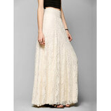 High Waist Hollow Lace Solid Color Long Skirts
