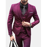 Mens Üç Adet Düz Renk İnce Uygun Blazer Suit