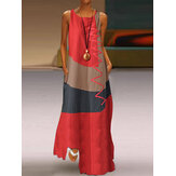 Sleeveless Splice O-neck Side Pocket Casual Long Maxi Dress