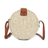 المرأة الصيف جولة حقيبة الكتف القش خمر المنسوجة شاطئ حمل حقيبة يد كروسبودي