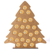 MDF Wooden Christmas Advent Calendar Christmas Tree Decoration Fits 24 Circular Chocolates Candy Stand Rack