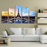 Paris Eiffel Tower Paintings Art 5 Pcs Print Picture Home Room Decor Sin marco