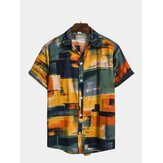 Mens Fashion Plaid Printed Colorful Stand Collar Shirts