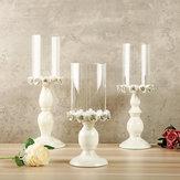 Candeliere nordico in metallo bianco portacandele in ferro con decorazioni in ferro per matrimonio