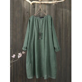 Plus Size Solid Color Crew Neck Cotton Loose Vintage Dress