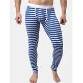 Erkek Güz Kış Çizgili Termal Pantolon Paçalı Don Pijama