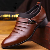 Men Pure Color Slip On Casual Soft Business Leather Oxfords