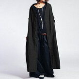 Women Solid Color Vintage Button Casual Long Coats