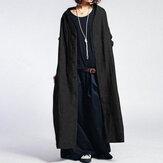 Kadınlar Düz Renk Vintage Düğme Casual Uzun Palto