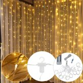3M*3M USB 300 LED Curtain String Light With 10 Hooks for Outdoor Festival Decor Christmas Wedding DC5V Christmas Decorations Clearance Christmas Lights