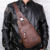 Ekphero® Men Casual Genuine Leather Oil Wax Chest Bag Crossbody Bag