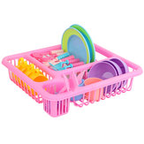 21PCS Kids Pretend Play Dishes Cozinha Playset Wash & Dry Tableware Rack Toys