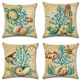 Cartoon Ocean Creature Turtle Pillow Case Cotton Linen Square House Decor Cushion Cover