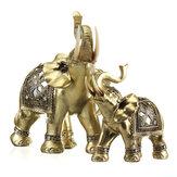 Sorte Encanto Fengshui Mascote Elefante de Ouro Resina Mini Estátua Casa Ornamentos de Mesa Presentes Decorações Para Casa
