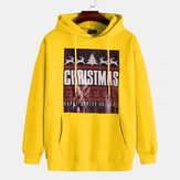 Christmas Pattern Hooded Drawstring Long Sleeve Sweatshirt