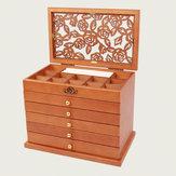 5 Layers Wooden Jewelery Box Storage Box Desktop Necklace Jewelry Organizer