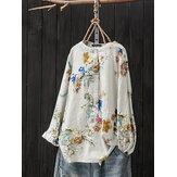 Kadın Retro Düğme Standı Yaka Çiçek Baskı Bluz