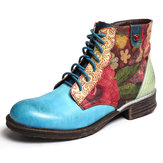 Watercolor Flower Splicing Zipper Lace Up Ankle Boots