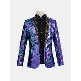 Reversible Double Color Sequin Floral Collar Blazer
