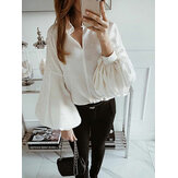 Women Long Sleeve V Neck Loose Solid Casual Blouse Shirt