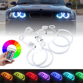 4PCS 131mm+146mm Multi-Color RGB LED Angel Eyes Halo Ring Lights Headlights with Remote Control For BMW E46 E90