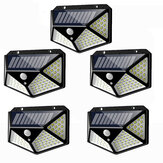 5 pcs 100 LED Solar Powered PIR Motion Sensor Dinding Cahaya Lampu Taman Luar Ruangan 3 Mode