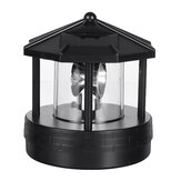 Hitam LED Solar Powered Lighthouse 360 ° Rotating Light Lampu Meja Taman Terbuka
