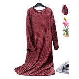 Plus Size Fluff Textured Long Sleeve Soft Nightgown