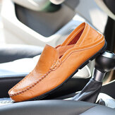 Men Hand Stitching Two Way Soft Walking Casual Leather Flats