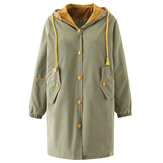 Dames Winter Button Windbreaker Warme jassen met capuchon