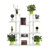 9 Tiers Wooden Plant Stand Carbonized Flower Pots Organizer Shelf Display Rack Holder for Indoor Outdoor Patio Garden Corner Balcony Living Room