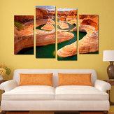 Miico pintado a mano cuatro pinturas decorativas combinadas Canyon River Wall Art para la decoración del hogar