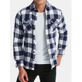 Mens Long Sleeve Plaid Fit Button Shirts